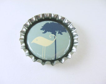 Fridge Bottle Cap Bird Magnet, kitchen decor, cute fridge magnet, blue green bird tree