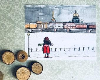 Set of 10 cards - Girl in Saint Petersburg Flat Cards