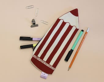 Pencil case, Novelty pencil, Screen printed pouch, Make up bag, Big pencil, stationery addict, gift for student