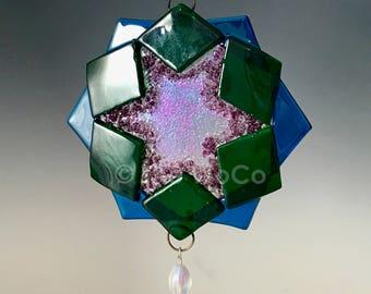 Chakra Four - Anahata - Heart - Green Fused Glass Ornament Suncatcher