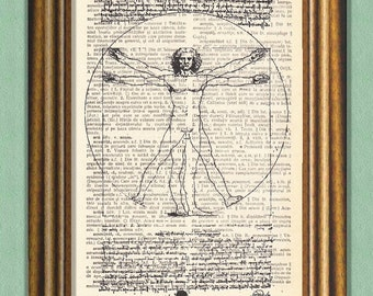 THE VITRUVIAN MAN - Dictionary Art - Wall Art - Printed Antique Book Page -