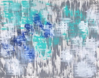 Original Abstract Painting, Acrylic on Canvas, Gray Blue Painting, Modern Painting, Wall Decor, Home decor, Office decor Modern art Cool Art