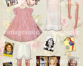SHIRLEY TEMPLE Digital Paper Doll Collage Sheet The Littlest Rebel HEIDI Digital Download