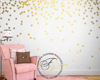 Gold Polka Dot Wall Decals - Gold Wall Decal Dots - Girls Room Pattern Wall Decal - Peel and Stick Gold Wall Decor - Gold Wall Sticker DP021