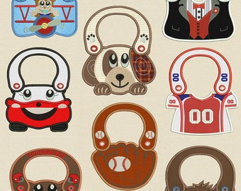 completely made in the hoop Boy's Baby Bibs (5X 7 Hoop) Machine embroidery designs
