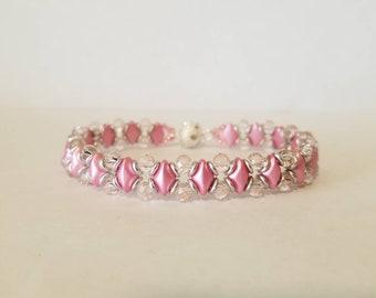 Pink diamondduo beaded bracelet, Light pink rondelle beaded bracelet, Silver o bead bracelet
