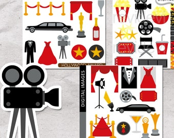 Red carpet night Hollywood party clipart sale bundle / movie night clip art / tuxedo, limousine, award, popcorn, ticket