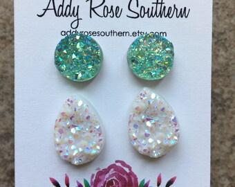 druzy earrings, druzy studs, rose gold studs, silver druzy, teardrop druzy, rose gold druzy