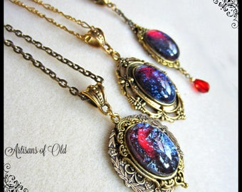 Antique Gold Pendant, Dragons Breath Opal Necklace, Antique Gold and Bronze, Choose Style