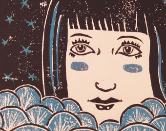 Mystery Girl in the waves block print