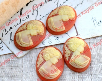 Vintage West German Cameo 25x18 Oval Lady Dark Carnelian Caramel Base and Ivory Face - 2pcs