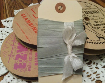 Vintage Gray Putty Woven Edge Rayon Seam Binding