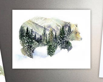 Mr Bear Art Refrigerator Magnet / Mountains & Forest  Spirit Animal - Watercolor Painting