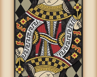 """Playing Card Wall Art, Playing Card Print, Man Cave Decor, """"Queen of Hearts"""""""