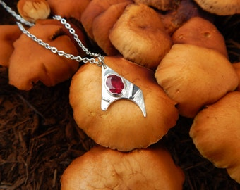 Ruby & Silver Pendant - Atomic Form