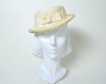Vintage 1940s Hat 40s Tilt Topper Cream Wedding 1930s 30s Fedora
