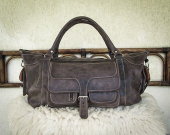 Handmade Leather Travel Bag / Antiqued Leather Weekender Bag / Aged Leather Duffle Bag / Leather Travel Bag - Art Deco Style