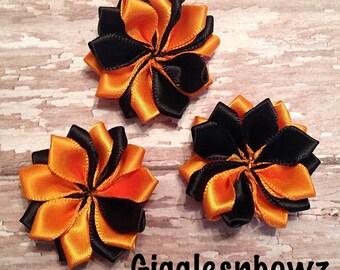 "Small Satin Pinwheel Halloween Flowers- You Choose Quantity- DIY Headband Supply- Headband Flowers- Costume Flowers- 1.5"" Flowers- Supplies"