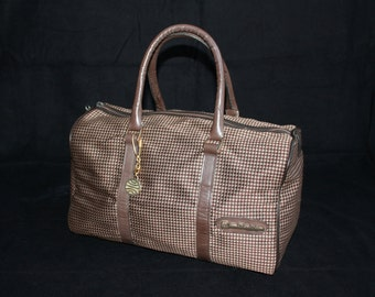 Small travel bag brown beige retro pattern vintage 70 hand bag week-end handy chic hand luggage carry-on