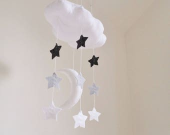 Modern Baby Mobile - Cloud moon and stars decor. monochrome