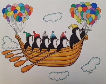 Penguins in the Sky A4 print