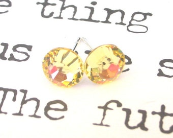 Jonquil yellow crystal studs, 7mm light yellow Swarovski crystal post earrings, pale lemon color, 1/4 inch in diameter