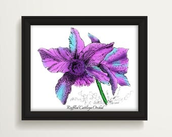 Orchid Flower Art, Orchid Art Print, Tropical Artwork, Home Decor, Aloha Wall Art, Housewarming Gift, Orchid Watercolor, Wedding Gift P1019A