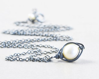 Pearl Drop Necklace, White Freshwater Pearl, Oxidized Sterling Necklace, June Birthstone