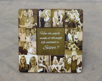 """Maid of Honor Photo Collage Frame, Custom Bridesmaid Collage Picture Frame, Personalized Best Friend Gift, Unique Sister Gift, 8"""" x 8"""" Frame"""