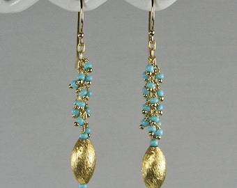Turquoise and Gold Dangle Cluster Earrings