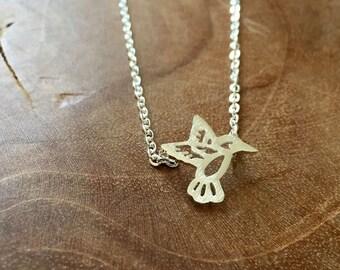 Hummingbird - a cute necklace with a little tiny hummingbird, outline. Silvertone, cute, animal, summer, bird, boho, gypsy