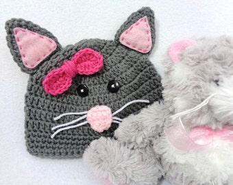Gray Kitty Cat Baby Hat, Crochet Feline Cap, MADE TO ORDER by Charlene, Baby Photo Prop, Gift for Baby Girl, Shower Gift for Cat Lover
