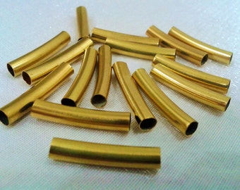 50 Pcs Raw Brass  4 x 21 mm Metal Curved Tube Bead Connector Tube -inner diameter 3.8 mm