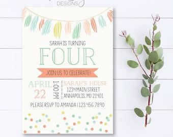 Garland Birthday Invitation, Tassel Garland Invitation, Colorful Birthday Invitation, Celebrate, Birthday Party