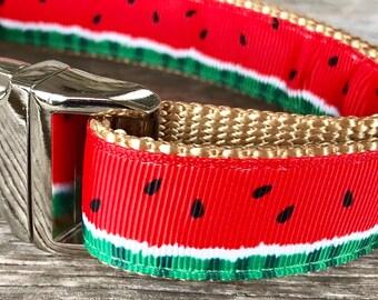 """Watermelon 1"""" Dog Collar, Summer Dog Collar, Watermelon Dog Leash, Dog Collar, Dog Leash"""