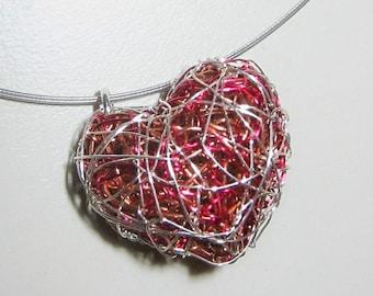 Red heart necklace, sculpture art, wire heart necklace, heart pendant, handmade, modern, Summer jewelry, anniversary gift for girlfriend