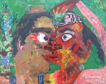 Outsider Man and Woman Art Painting Collage - VooDoo Love - Original Abstract Boy n Girl Raw Naive Folk Artwork Wall Decor Brut Valentine