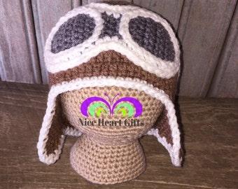 Crochet Aviator Hat, Baby Pilot Hat, Crochet Pilot Hat, Newborn Aviator Hat, Aviator Googles, Aviator Hat, Pilot Hat,