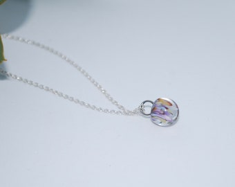 Purple Sand Handmade Lampworked Glass Pendant on 60cm Sterling Silver Chain