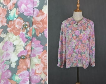 Vintage Japanese Watercolor Floral Blouse / Spring Blouse / Day Blouse / Made in Japan / Size Medium