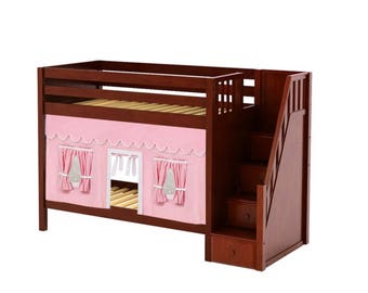 Twin Bunk Bed with Side Stairs with Pink/White Curtain, Chestnut