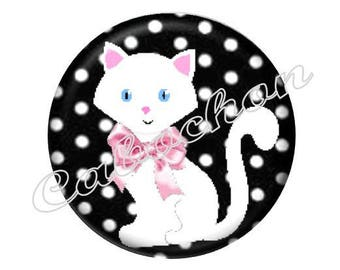 2 cabochons 18mm glass cat, white, pink and black