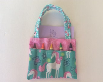 Unicorn Children's Crayon Bag and Customized Paper, Birthday Party Favor