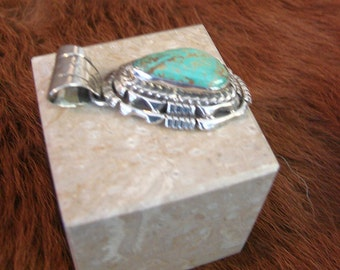 Navajo Sterling Turquoise Pendant - Signed Sterling Silver And Turquoise Nugget Pendant