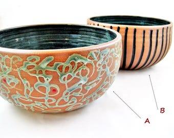 Pottery serving bowl, Handmade decorative bowl, Hostess dish, Modern ceramic bowls, pottery kitchen decor - Made to order