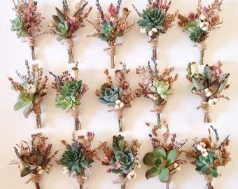 Succulent Boutonniere Sets // Flower Fields