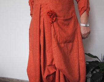 Oversize Linen Dress Plus size Maxi Dress Extravagant Loose Dress & Nara LR003
