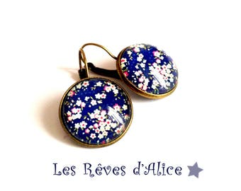 "Earrings Asian ""Royal Blue cherry"", bronze and glass"