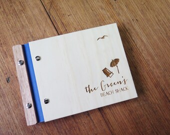 Holiday House Guest Book, Beach House, Custom Wood Guestbook