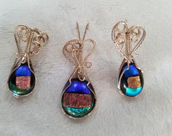 Wire-Wrapped Glass Fused Pendant and Earring Set